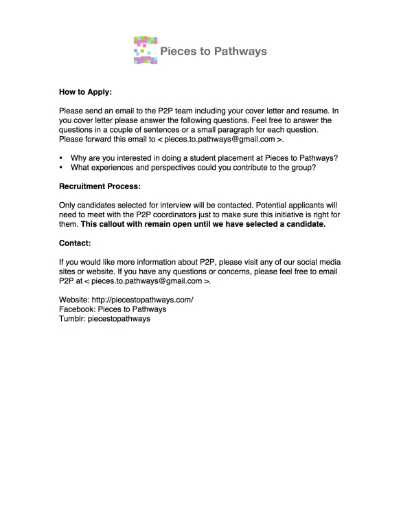 Pieces to Pathways Student Placement Callout 2